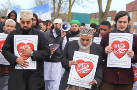 Shaykh Dr. Muhammad Umar Al-Qadri (Left) and Dr. Craig Considine (Right) marching in the Al-Mustafa Islamic Centre Ireland's 4th Annual Peace Walk in Dublin, Ireland (2/26/13).